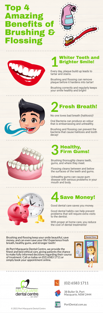 top 4 amazing benefits of brushing and flossing from port macquarie dental centre infographic